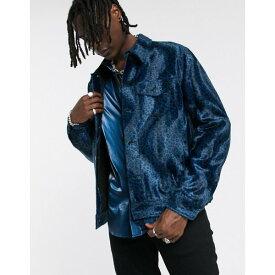エイソス メンズ ジャケット&ブルゾン アウター ASOS EDITION faux fur western jacket in blue leopard print Blue