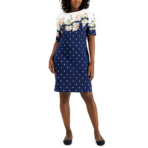 ケレンスコット レディース ワンピース トップス Country Bloom Dress Mixed-Print Dress, Created for Macy's Intrepid Blue