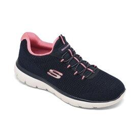 スケッチャーズ レディース スニーカー シューズ Women's Summits - Cool Classic Wide Width Athletic Walking Sneakers from Finish Line Navy, Pink