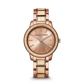 オリジナル・グレイン レディース 腕時計 アクセサリー Women's Reclaimed from Whiskey Barrel Wood paired with Espresso Stainless Steel Bracelet Watch 36mm Multi