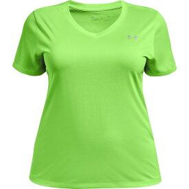 アンダーアーマー レディース Tシャツ トップス Under Armour Women's Tech Twist V-Neck Plus Size T-shirt Green Bright 01