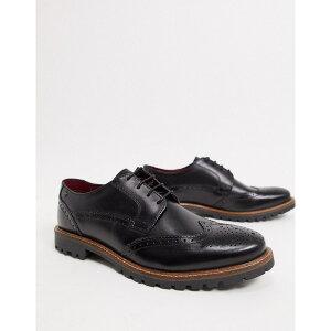 ベースロンドン メンズ スリッポン・ローファー シューズ Base London grundy lace up shoes in black leather Black
