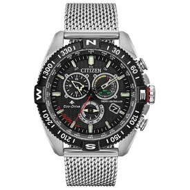 シチズン レディース 腕時計 アクセサリー Eco-Drive Men's Chronograph Promaster Navihawk Stainless Steel Mesh Bracelet Watch 44mm Silver