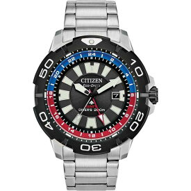 シチズン レディース 腕時計 アクセサリー Eco-Drive Men's Promaster GMT Diver Stainless Steel Bracelet Watch 44mm Silver