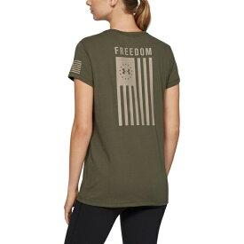 アンダーアーマー レディース Tシャツ トップス Under Armour Women's Freedom Flag Outdoor Graphic T-shirt Marine Od Green