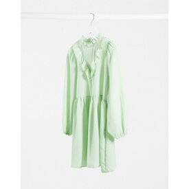 エイソス レディース ワンピース トップス ASOS DESIGN frill neck detail smock mini dress in mint green Mint