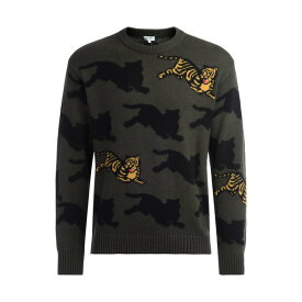 ケンゾー メンズ ニット&セーター アウター Kenzo Tigre Sweater In Green Cotton And Wool With Embroidered Front Tiger VERDE