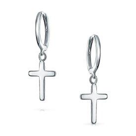 ブリング レディース ピアス&イヤリング アクセサリー Sterling Silver Cross Drop Hoops Earrings SILVER