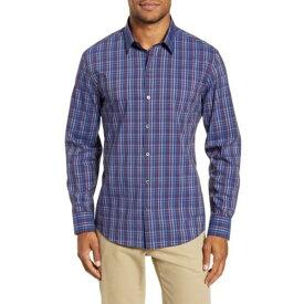 ザッカリープレル メンズ シャツ トップス Yacubi Regular Fit Plaid Button-Up Shirt NAVY