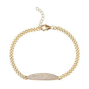 ジャニ ベルニーニ レディース ブレスレット・バングル・アンクレット アクセサリー Pave Oval Cubic Zirconia Bar Bracelet in 18K Gold Over Sterling Silver Gold plated sterling silver