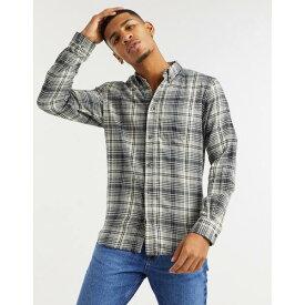 フレンチコネクション メンズ シャツ トップス French Connection flannel shadow plaid shirt in cream Ecru marine