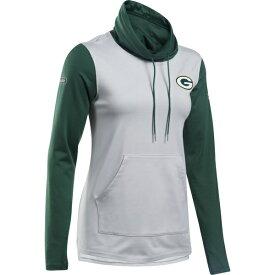 アンダーアーマー レディース パーカー・スウェットシャツ アウター Green Bay Packers Under Armour Women's Combine Authentic French Terry Cowl Neck Hoodie Heathered Gray/Green