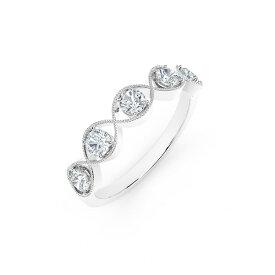 フォーエバーマーク レディース リング アクセサリー Tribute Collection Diamond (1/2 ct. t.w.) Ring with Mill-Grain in 18k Yellow, White and Rose Gold White Gold