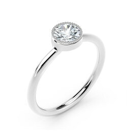 フォーエバーマーク レディース リング アクセサリー Tribute Collection Diamond (1/3 ct. t.w.) Ring with Mill-Grain in 18k Yellow, White and Rose Gold White Gold