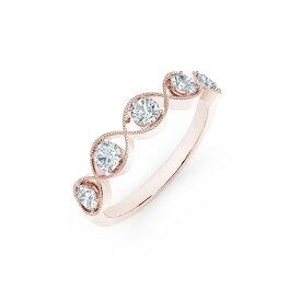 フォーエバーマーク レディース リング アクセサリー Tribute Collection Diamond (1/2 ct. t.w.) Ring with Mill-Grain in 18k Yellow, White and Rose Gold Rose Gold