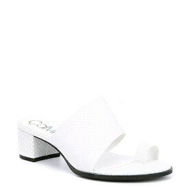 カルバンクライン レディース サンダル シューズ Dionne Snake Print Leather Toe Ring Block Heel Slide Sandals White