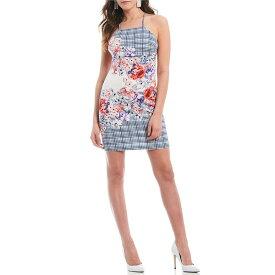 ゲス レディース ワンピース トップス Halter Neck Plaid Floral Print Scuba Sheath Dress Multi