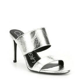 カルバンクライン レディース サンダル シューズ Rema Thrill Leather Metallic Mules Silver