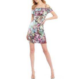 ゲス レディース ワンピース トップス Off-the-Shoulder Palm Print Scuba Sheath Dress Multi