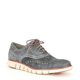 コールハーン メンズ ドレスシューズ シューズ Men's Denim Zerogrand Leather Wingtop Oxford Grey