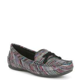 ナーチャー レディース サンダル シューズ Ozaktwo Multi Color Leather Moccasin Black Multi Stripe