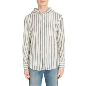 ロエベ メンズ シャツ トップス Loewe Stripe Button-Up Hooded Shirt White/ Blue