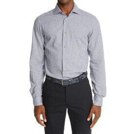 ボリオリ メンズ シャツ トップス Check Cotton Button-Up Shirt BLUE TAN WHITE