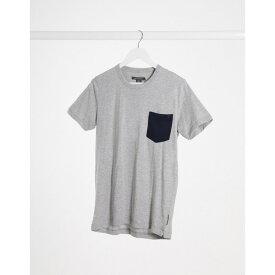 フレンチコネクション メンズ Tシャツ トップス French Connection check pocket t-shirt in gray Lgm marine