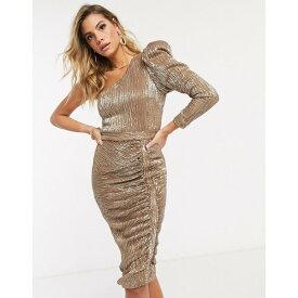 ラビッシュアリス レディース ワンピース トップス Lavish Alice structured one shoulder sequin midi dress in gold Gold