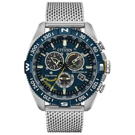 シチズン レディース 腕時計 アクセサリー Eco-Drive Men's Chronograph Promaster Blue Angels Navihawk Stainless Steel Mesh Bracelet Watch 44mm Silver