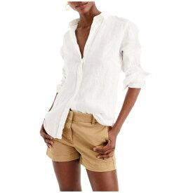 ジェイクルー レディース シャツ トップス Slim Perfect Shirt in Irish Linen White
