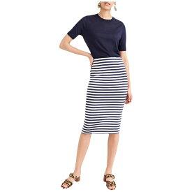 ジェイクルー レディース スカート ボトムス Knit Pencil Skirt in Stripe Cabo Stripe Navy