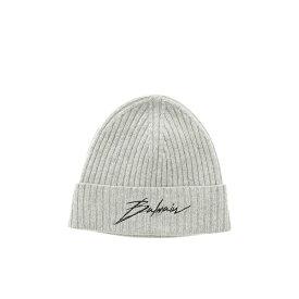 バルマン メンズ 帽子 アクセサリー Balmain Logo Emrboidered Beanie Grigio
