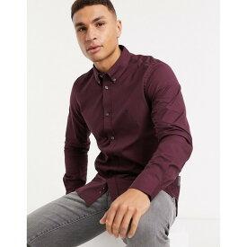フレンチコネクション メンズ シャツ トップス French Connection oxford button-down logo shirt in burgundy Solid chateux