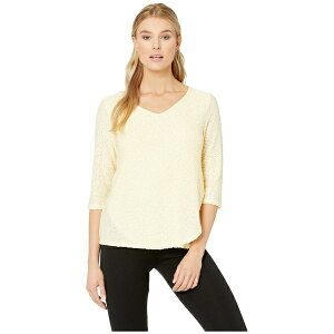FDJフレンチドレッシングジーンズ レディース シャツ トップス Textured Solid V-Neck 3/4 Sleeve Top with Overlapping Front Detail Butter