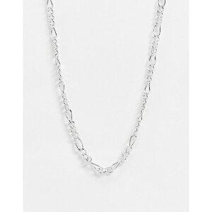 エイソス メンズ ネックレス・チョーカー アクセサリー ASOS DESIGN short 5mm figaro neckchain in real silver plate Silver