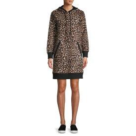 マイケルコース レディース ワンピース トップス Mega Cheetah-Print Hoodie Dress Dark Camel