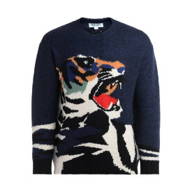 ケンゾー メンズ ニット&セーター アウター Kenzo Sweater In Blue Wool With Maxi Embroidered Print BLU
