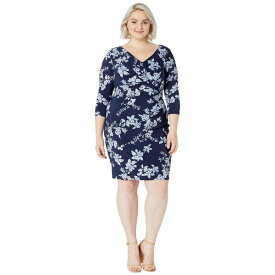 ラルフローレン レディース ワンピース トップス Plus Size Floral-Print Jersey Dress Lighthouse Navy/French Blue/Colonial Cream