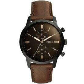 フォッシル レディース 腕時計 アクセサリー Men's Townsman Brown Leather Strap Watch 44mm Brown/Black