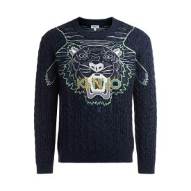 ケンゾー メンズ ニット&セーター アウター Kenzo Claw Tiger Woven Sweater In Blue Wool And Cotton BLU