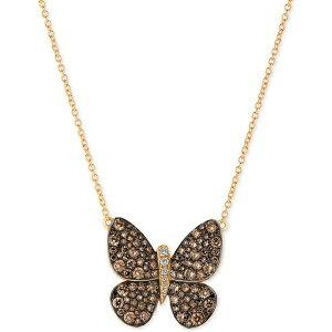 ルヴァン レディース ネックレス・チョーカー・ペンダントトップ アクセサリー Chocolatier Diamond Butterfly Pendant Necklace (1-7/8 ct. t.w.) in 14k Rose Gold or Yellow Gold. Rose Gold