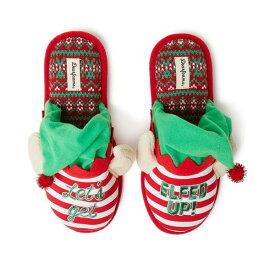 ディアフォームズ レディース サンダル シューズ Festive Closed-Toe Scuff Slippers, Online Only Red Stripe (Lets Get Elfed Up)