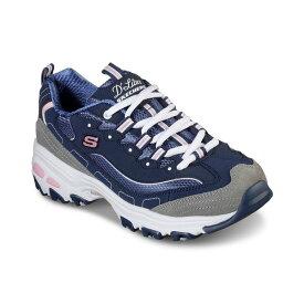 スケッチャーズ レディース スニーカー シューズ Women's D'Lites - New Journey Walking Sneakers from Finish Line Navy, Grey