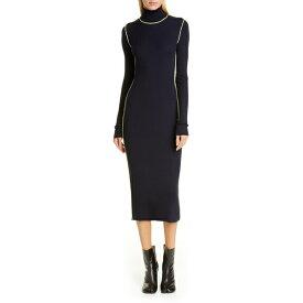 マルタンマルジェラ レディース ワンピース トップス Maison Margiela Long Sleeve Rib Midi Sweater Dress Blue Navy
