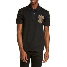 ヴェルサーチ メンズ ポロシャツ トップス Versace Embroidered Crest Piqu Polo Black