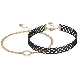 ゲス レディース ネックレス・チョーカー・ペンダントトップ アクセサリー Figure 8 Choker and Pave Circle Necklace Set Gold/Crystal/Jet
