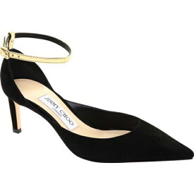 ジミーチュウ レディース オックスフォード シューズ Helix 65 Suede/Mirror Leather Ankle Strap Pump Black/Gold Suede/Mirror Leather