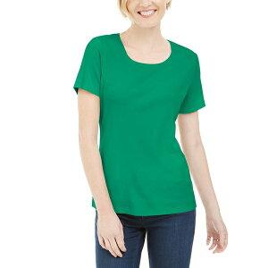 ケレンスコット レディース カットソー トップス Petite Cotton Scoop-Neck Top, Created for Macy's Green Verde
