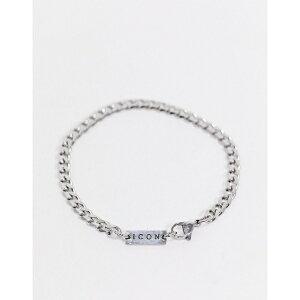 アイコンブランド メンズ ブレスレット・バングル・アンクレット アクセサリー Icon Brand stainless steel bracelet in silver SILVER